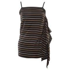 Chloe Noir Striped Silk Asymmetric Draped Detail Lurex Strap Top S