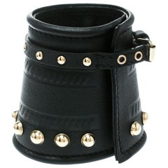 Givenchy Gold Tone Studs Embossed Black Leather Extra Wide Buckle Cuff Bracelet