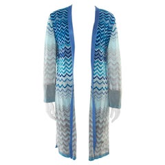 Missoni Blue Lurex Perforated Knit Chevron Pattern Open Front Cardigan L