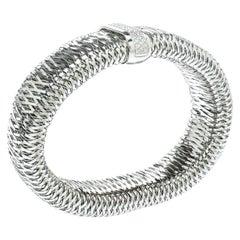 Roberto Coin Primavera Diamond Interwoven 18k White Gold Wide Stretchable Bangle