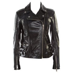 Burberry Brit Black Leather Ribbed Panel Detail Biker Jacket S