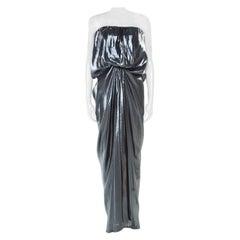 Lanvin Metallic Draped Strapless Dress M