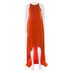 Lanvin Orange Crepe Metal Neck Embellished Sleeveless High Low Dress M