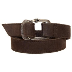 Hoorsenbuhs Brown Leather/Sterling Buckle Wrap Bracelet