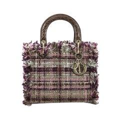 Christian Dior Lady Dior Handbag Tweed with Crocodile Medium