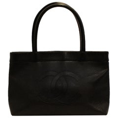 Chanel Black Caviar Leather Top Handle Tote