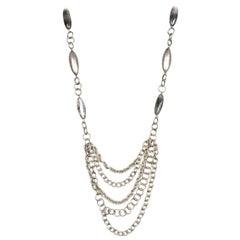 Stephen Dweck Silvertone Chainlink Necklace W/ Tourmalinated Quartz