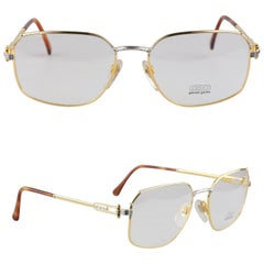 Gerald Genta Rare Vintage Unisex Gold Plated Eyeglasses New Old Stock