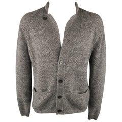 WOOYOUNGMI Size 42 Gray Heather Wool Notch Lapel Cardigan