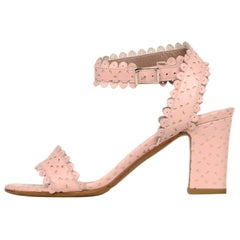 Tabitha Simmons Pink Leather Cut Out/Scalloped Sandals Sz 35.5