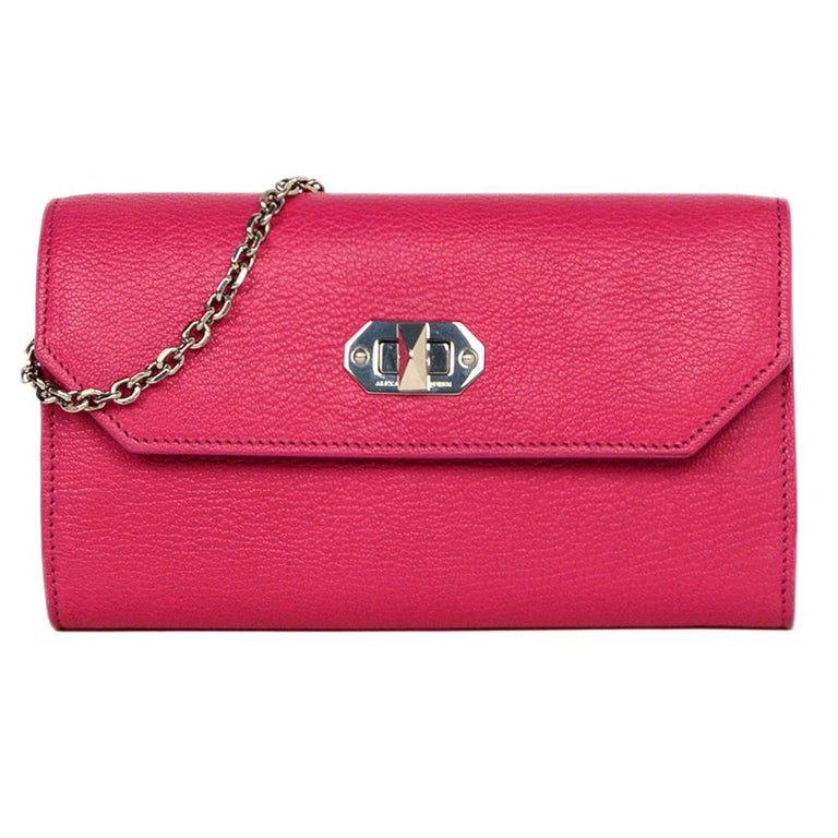 4915707c65c2 Alexander McQueen Pink Pebbled Leather WOC Wallet On A Chain Crossbody Bag  For Sale