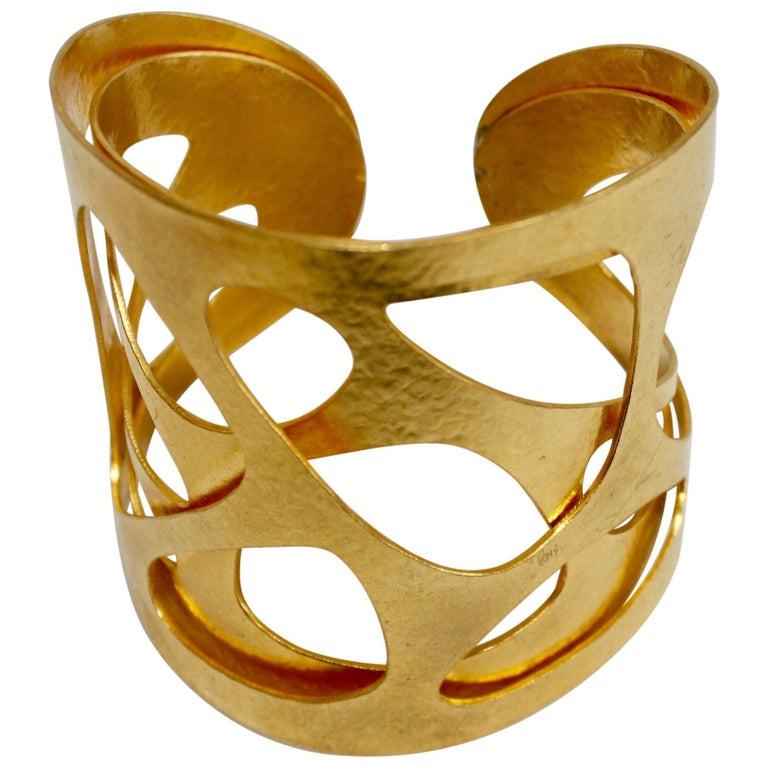 """Herve van der Straeten Gilded Brass """"Giraffe"""" Cuff For Sale"""