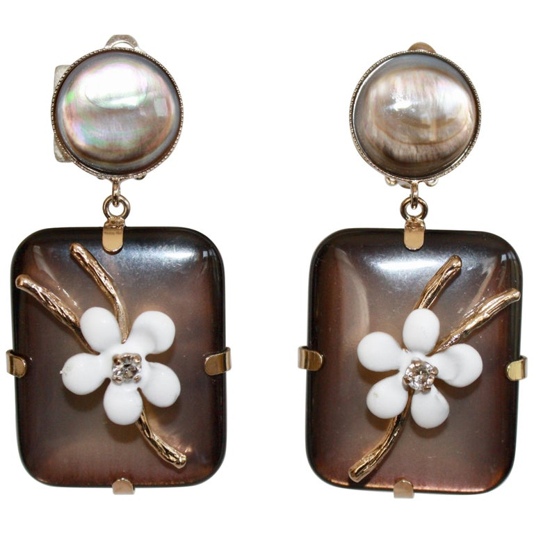 Philippe Ferrandis Handmade Glass, Mother of Pearl and Enameled Flowers Clips For Sale