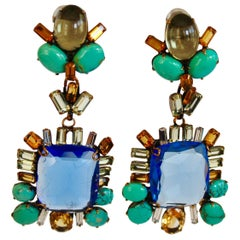 Iradj Moini Saphire, Citrine, and Turquoise Clip Earrings