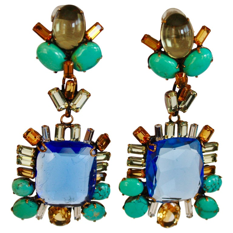Iradj Moini Saphire, Citrine, and Turquoise Clip Earrings For Sale
