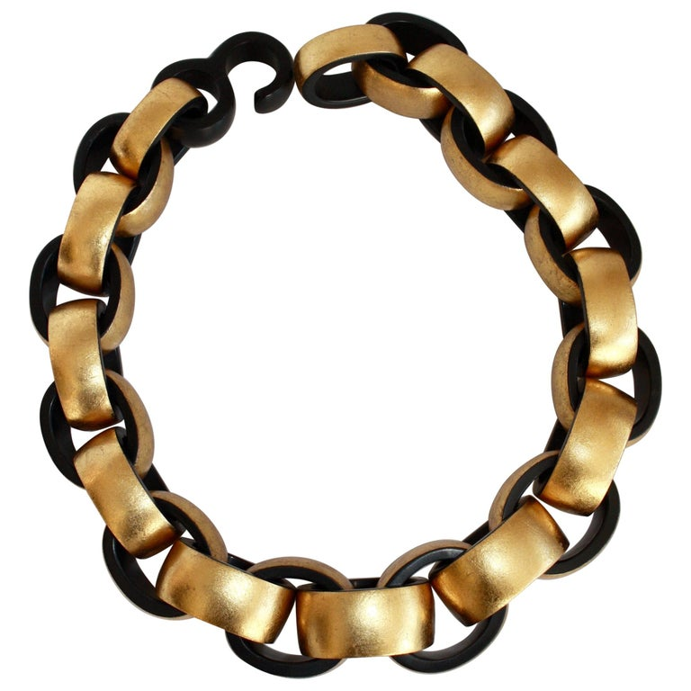 Monies Gold Leaf and Ebony Wood Link Necklace For Sale