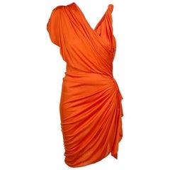 Gwyneth's LANVIN Orange Draped Faux-Wrap Crepe-Jersey Dress Small