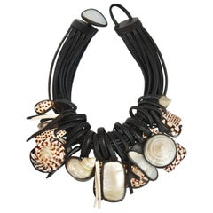 Monies One of a Kind Shell, Mother of Pearl, Rock Crystal and Ebony Necklace