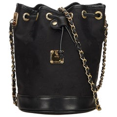 MCM Black Canvas Fabric Visetos Chain Bucket Bag Germany