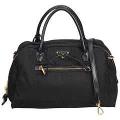 Prada Black Nylon Fabric Satchel Italy w/ Authenticity CardPadlockPadlockKey