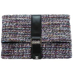 Chanel Tweed Flap Over Oversized Runway Clutch