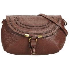 Chloe Brown  Leather Small Marcie Crossbody Bag France