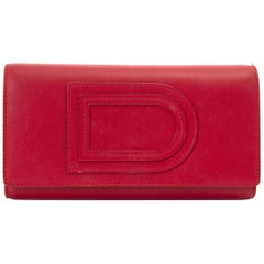 Delvaux Lipstck Red Trifold Wallet
