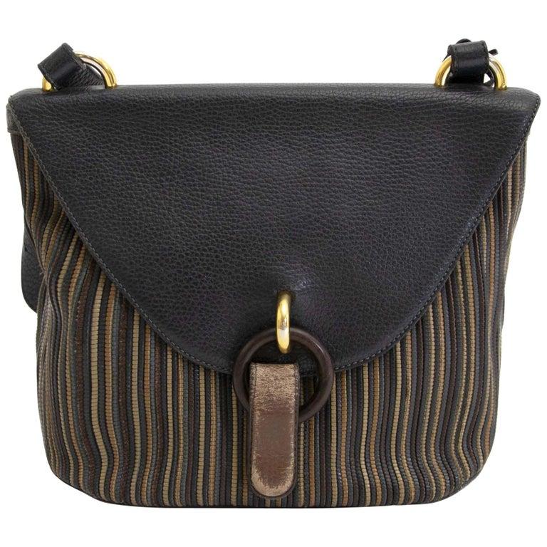 Delvaux Blue Toile De Cuir Crossbody Bag For Sale