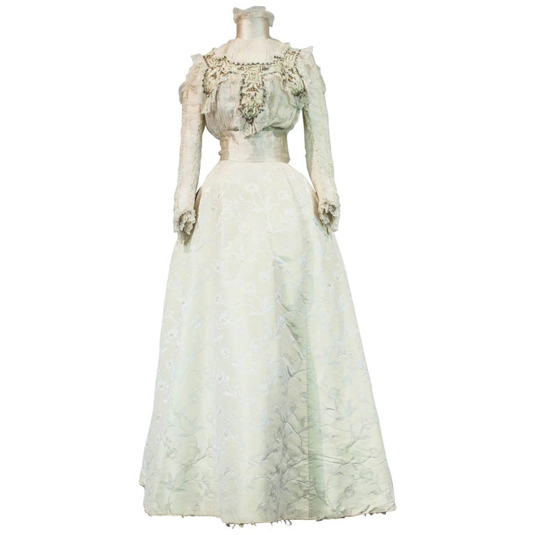 Edwardian Damask and Chiffon Silk Ceremony French Labelled Gown Circa 1900 For Sale