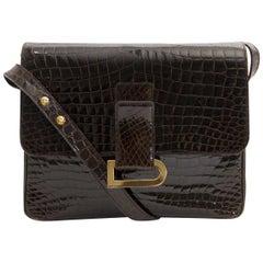 Delvaux Dark Brown Croco Passerelle Shoulder Bag