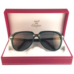 New Cartier Vitesse Marbled Green 58MM 18K Gold Plated Sunglasses France