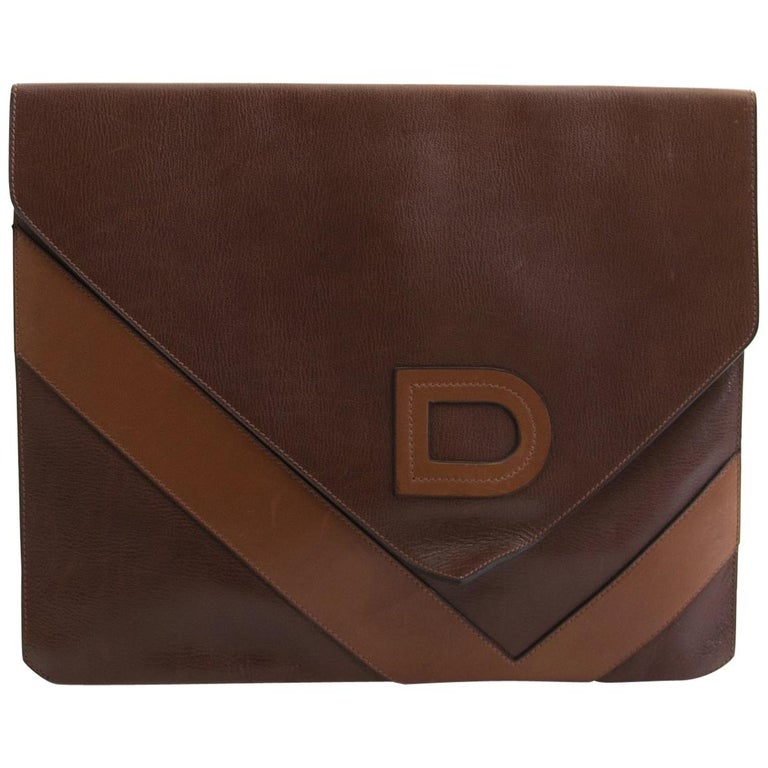 82958dca6 Delvaux Efficace Brown Leather Portfolio Clutch For Sale at 1stdibs