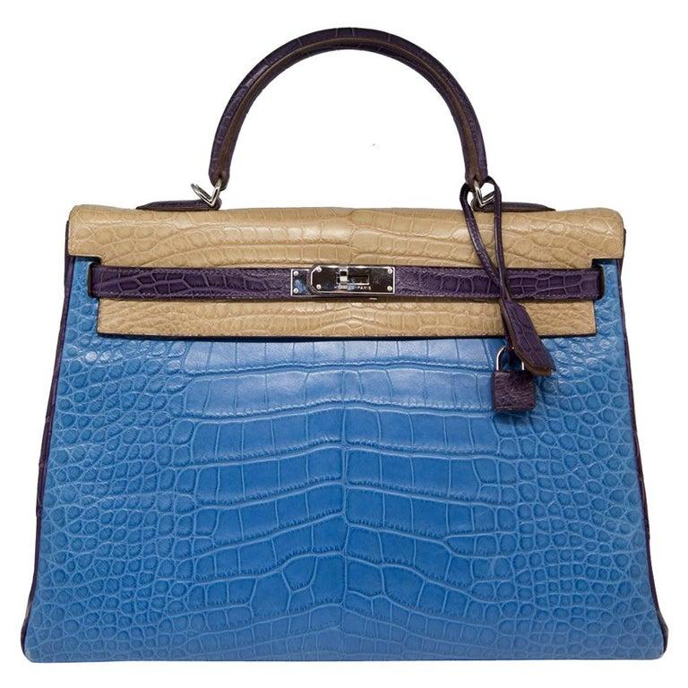 62de1d90d8ce Hermès Special Order Tri-Colour Alligator Leather 35cm Kelly Bag For Sale