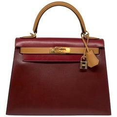 Hermès Bi-colour 28cm Box Leather Kelly Sellier Bag