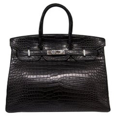 Hermès Black Porosus Crocodile 35cm Birkin Bag