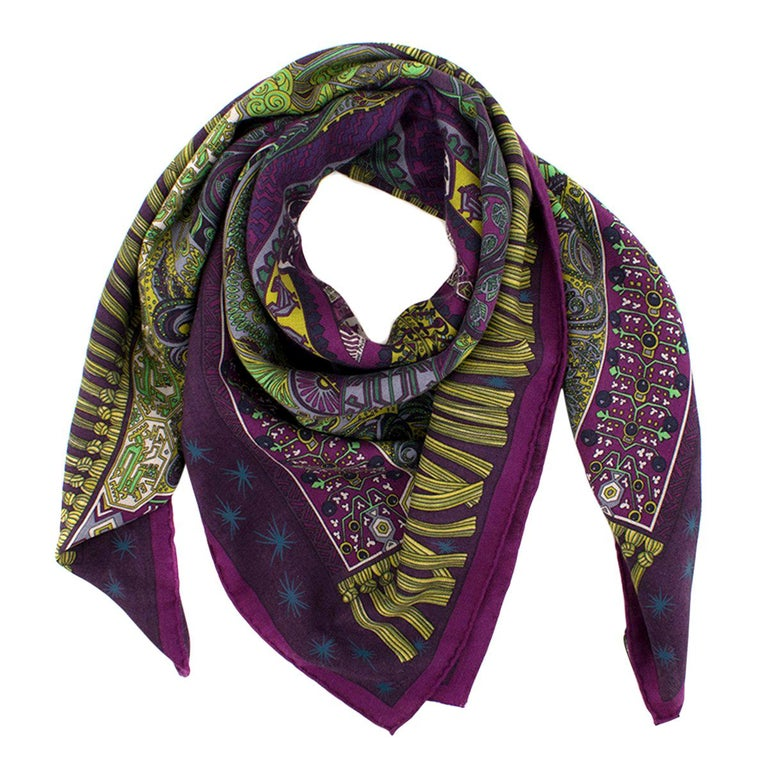 Hermes Sur Un Tapis Volant Cashmere And Silk Blend Scarf At 1stdibs