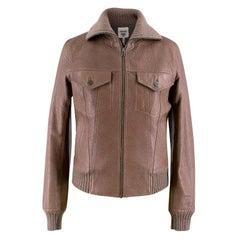 Hermes Brown Leather Jacket US 4