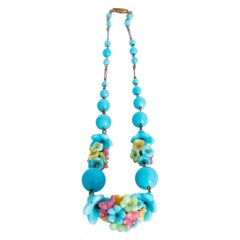 A 1930s Bright Blue Venetian Glass Beads Necklace With Flower Arrangement