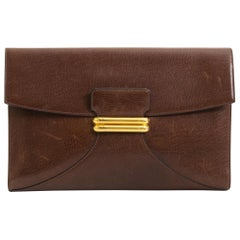Delvaux Brown Leather Clutch