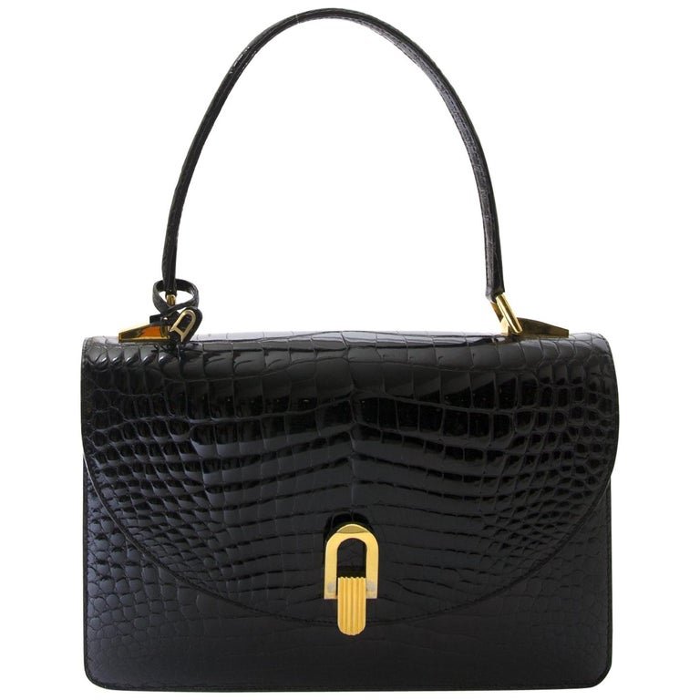 861d1d72d8 Delvaux Black Croco Handbag For Sale at 1stdibs