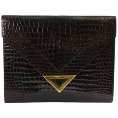 Delvaux Brown Croco Clutch