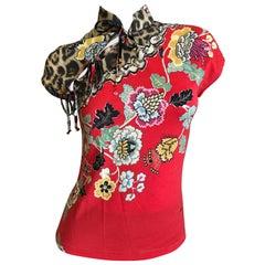 Roberto Cavalli Spring 2003 Silk Cheongsam Style Floral Top Size XS