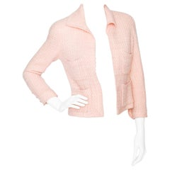 A 1990s Chanel Pink Boucle Cropped Jacket