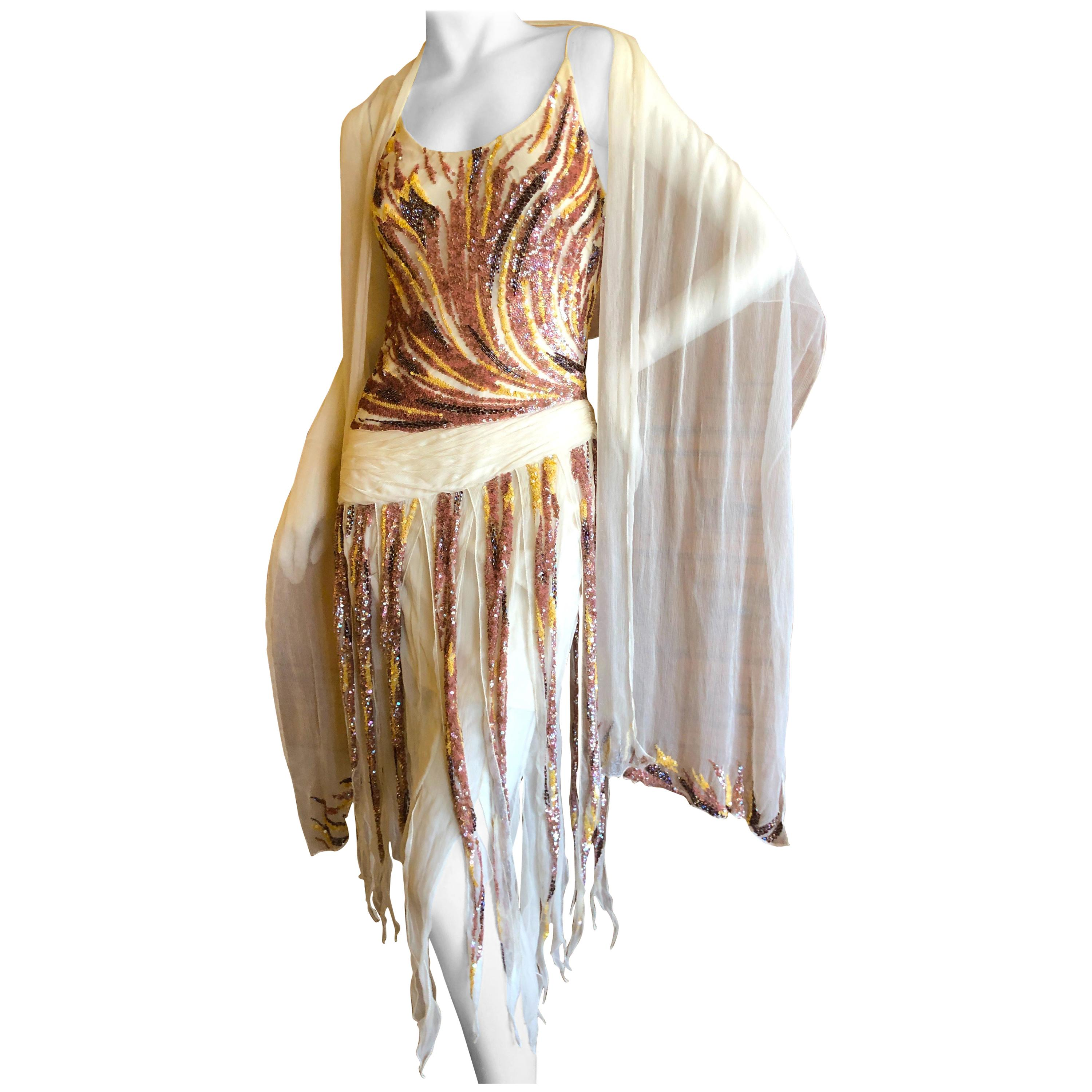 f9e448d319d Valentino Vintage Sequin Cocktail Dress with Car Wash Sequin Fringe and  Shawl For Sale at 1stdibs