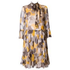 Groovy Vintage Silk Chiffon Cocktail Dress