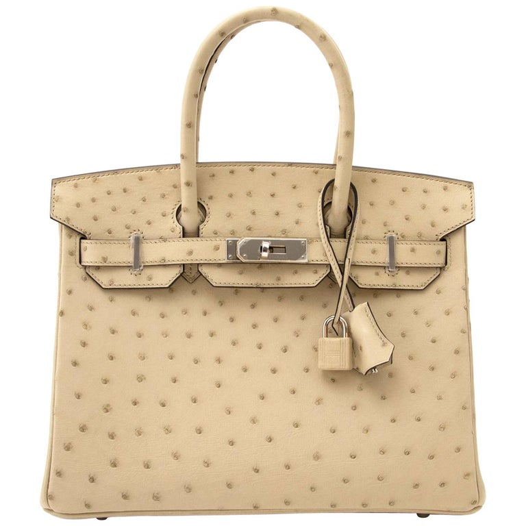 Never Used  Hermes Birkin 30cm Parchemin Ostrich PHW For Sale
