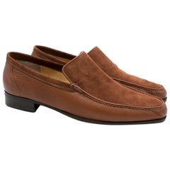 Stefano Ricci Brown Leather and Suede Loafers US 9
