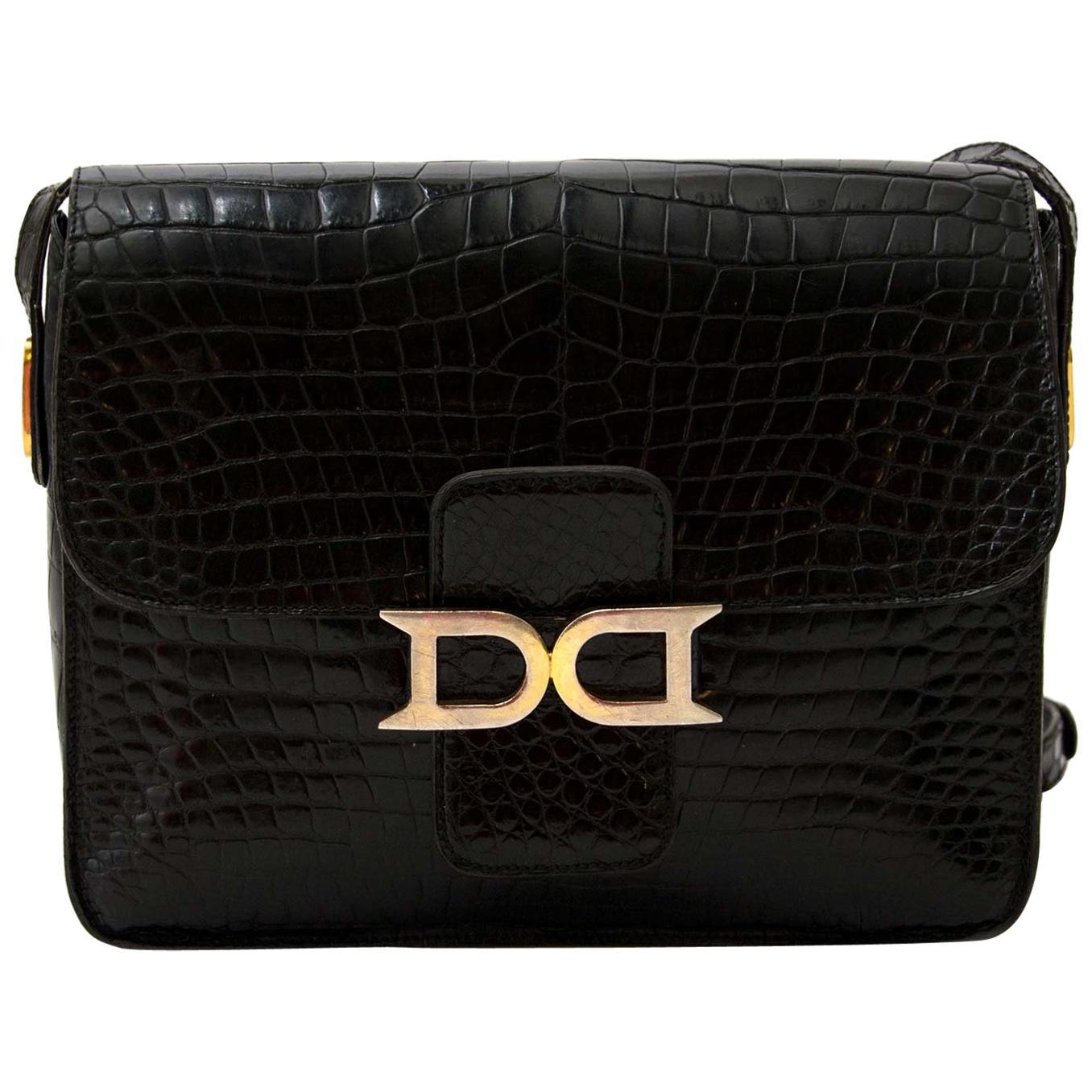 Delvaux Black Crocodile Bourgogne Shoulder Bag