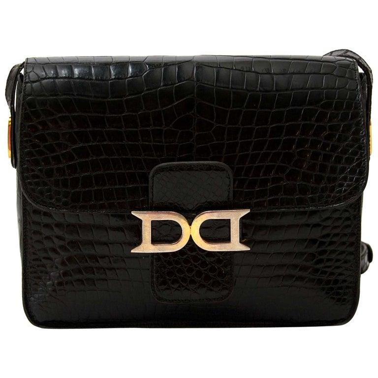 Delvaux Black Crocodile Bourgogne Shoulder Bag For Sale