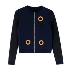 Louis Vuitton Wool Blend Navy Eyelet Zip Up Cardigan US 4